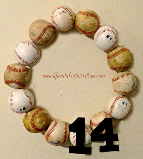 "alt=""baseball wreath using new and used baseballs sports"""