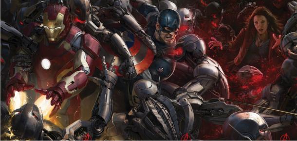Viúva Negra, Capitão América e Homem de Ferro enfrentam um exército de robôs nos pôsteres de Os Vingadores 2