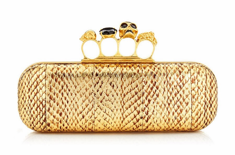 Alexander McQueen Knuckleduster Gold Python Clutch