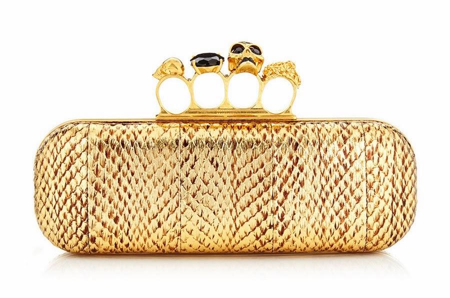 Alexander McQueen Knuckleduster Gold Python Clutch