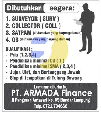 Lowongan kerja lampung, selasa 2 desember 2014, Bursa Kerja Lampung PT. Armada Finance