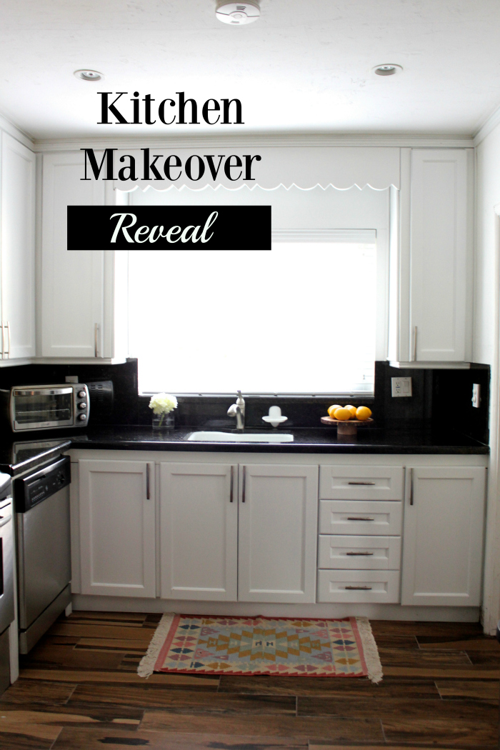 Home decor kitchen makeover reveal with lowe39s viva fashion for Kitchen cabinets lowes with find wall art