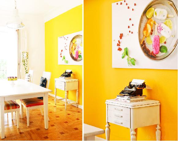 Kandis design parede em amarelo for O que significa dining room em portugues
