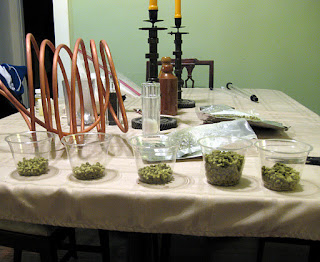 The measured out additions of brew day hops.
