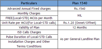BSNL Landline New Annual Plan 1540 Tariff