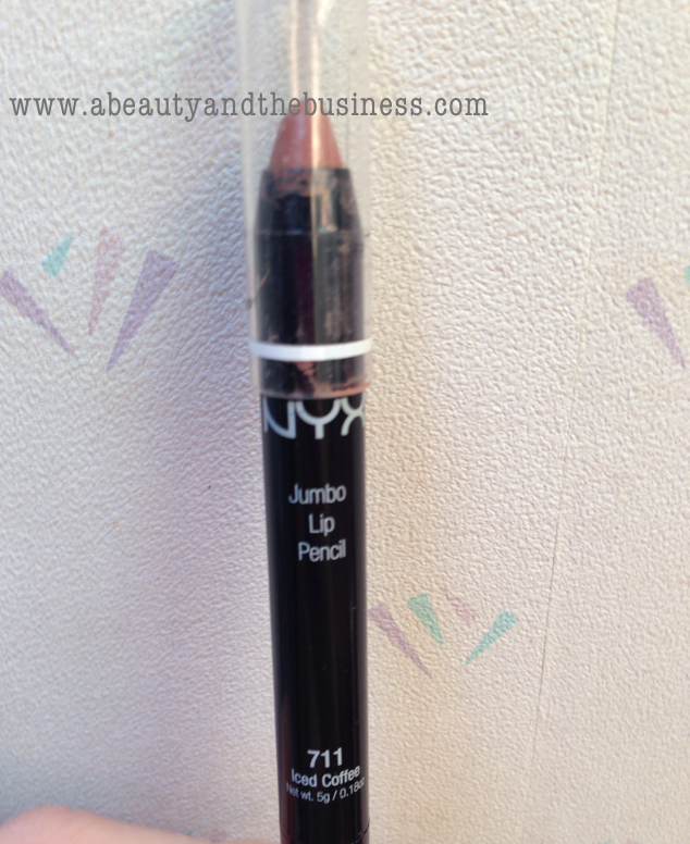 NYX Jumbo Lip Pencil in 711 Iced Coffee, nyx jumbo lip pencil, nyx iced coffee, lip pencil swatch, nyx swatch, nyx lip,