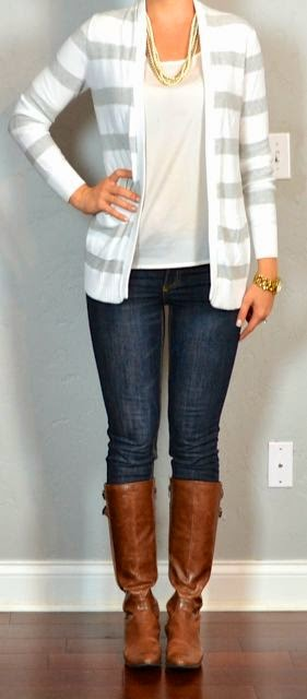Outfit post grey stripped sweater skinny jeans,riding boots