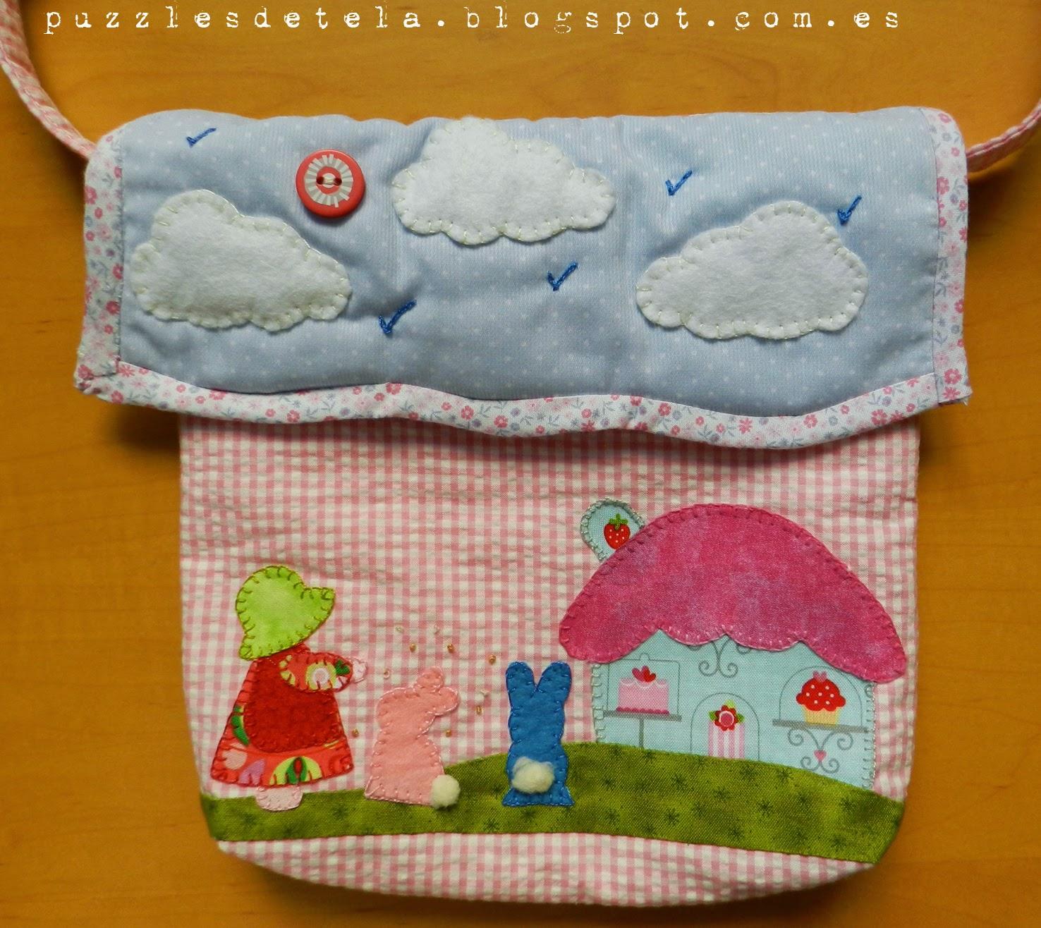 Patchwork, bolso patchwork, buho, bolso niña, bolso con aplicaciones.