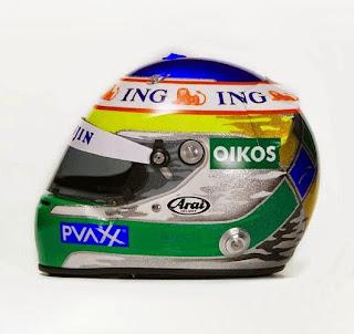Il casco di Giancarlo Fisichella, nella configurazione usata prima di passare in Ferrari