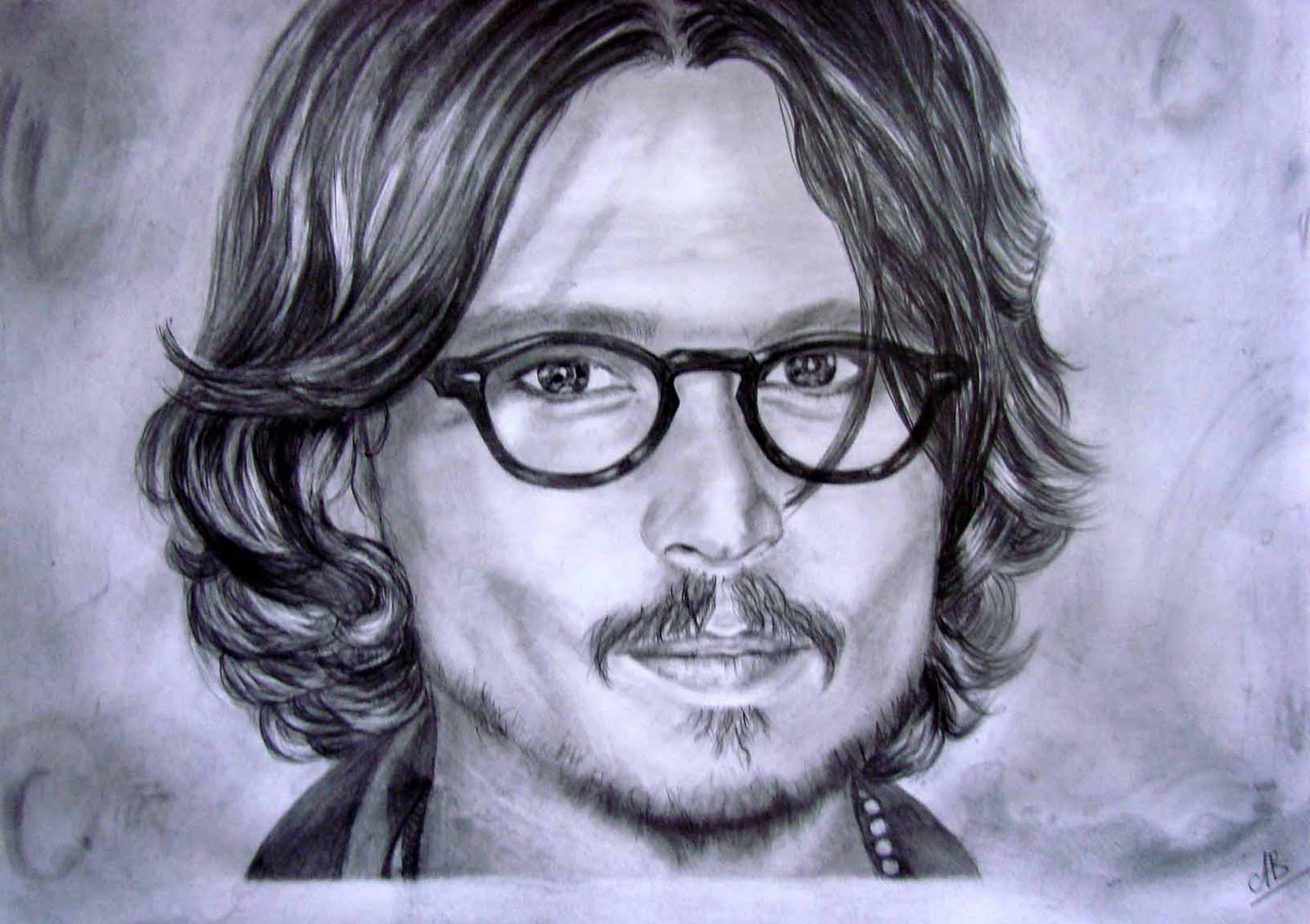Le blog de b a mes dessins photos peintures johnny depp - Dessin johnny depp ...