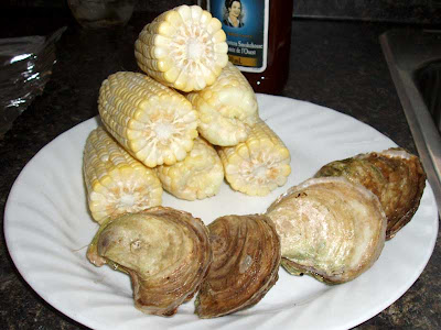 Now that's a summer meal! Fresh oysters and corn heading off to the BBQ as a side dish for smokey chicken wings, mmm.