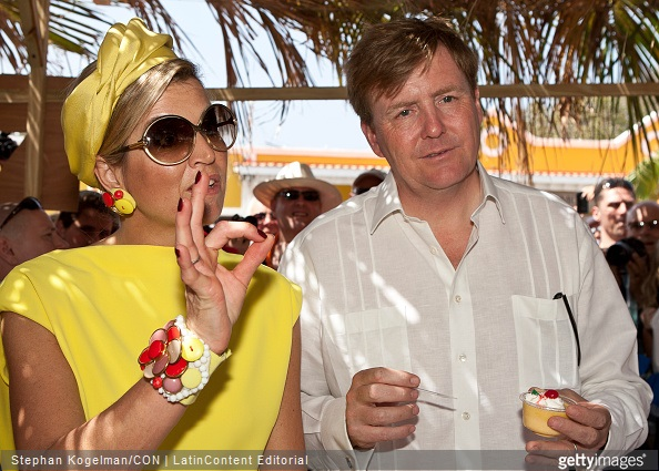 King Willem-Alexander and Queen Maxima of the Netherlands attend Dia di Rincon on April 30, 2015 in Rincon, Netherlands.