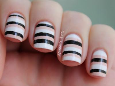 Nude, White & Black Stripes Nail Art
