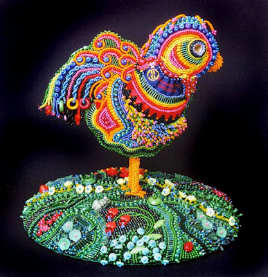 bead emroidery by Robin Atkins - Rosie The Uncaged Hen