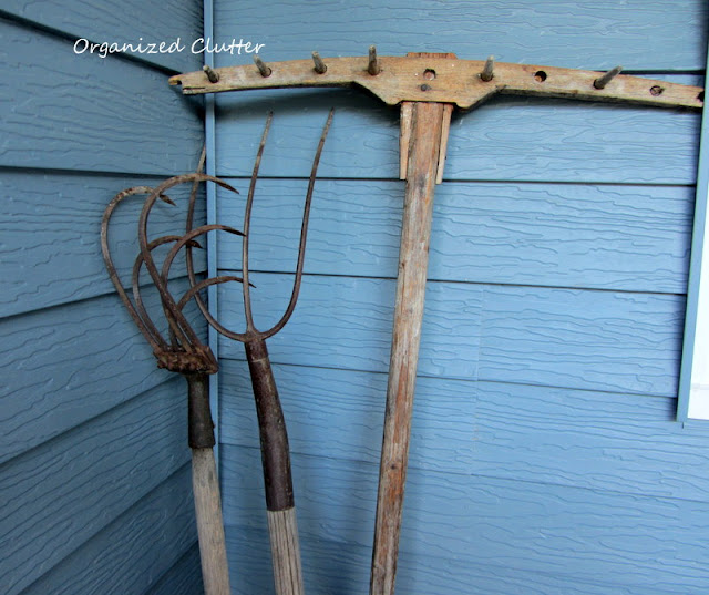 Vintage weathered garden and farm tools