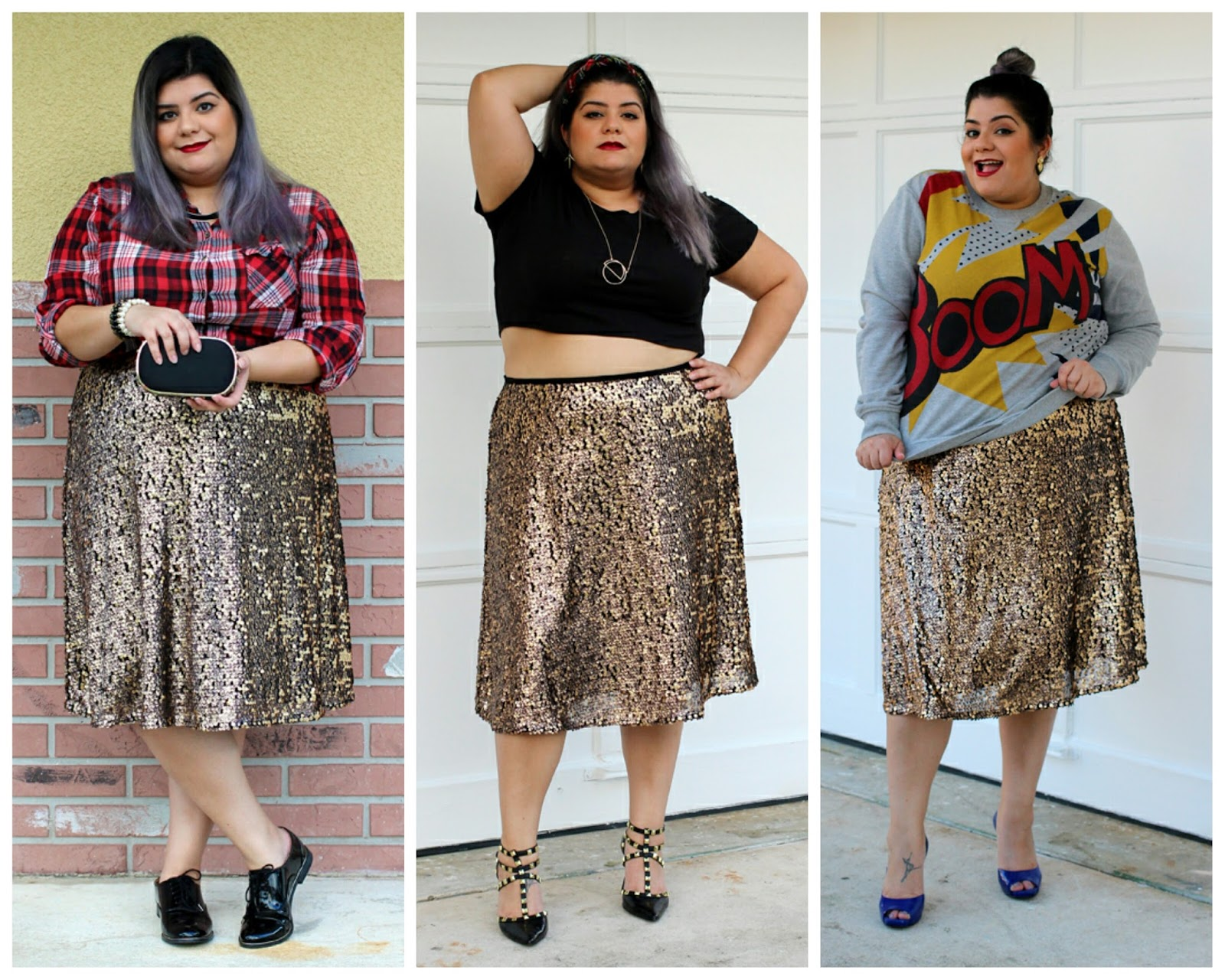 plus size sequins skirt