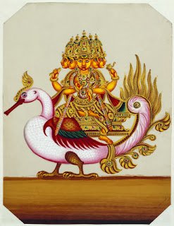 Five-headed Brahma riding on a goose. Born with one head, Brahma acquired four more in order not to lose sight of the female partner he had created. But Shiva later struck off one of the heads, leaving Brahma with only four. In his hands are a sceptre, a string of beads and a water jug. Talc drawing from South India. Victoria and Albert Museum, London,