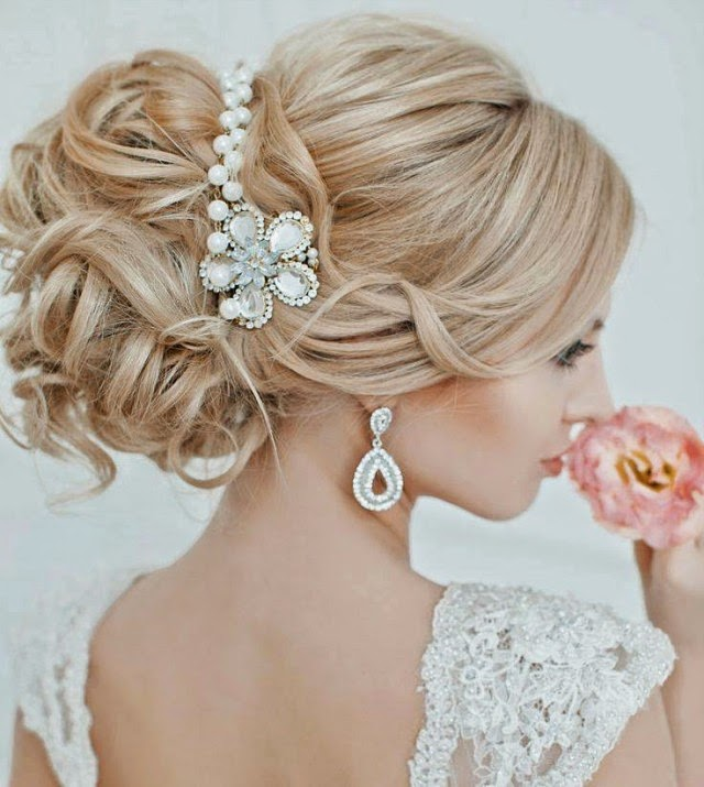 stylish bridal wedding hairstyle 2014 2015 for brides and party reception for