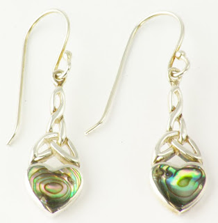 silver drop earrings abalone
