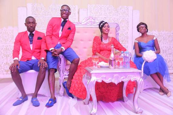 Baba Funky wears shorts at his wedding