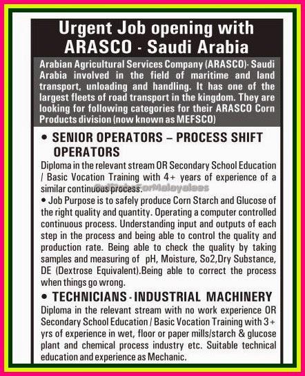 Urgent Job Vacancies For Arasco Saudi Arabia Gulf Jobs