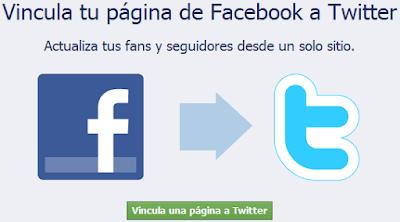 Vicula tu pagina de Facebook a Twitter
