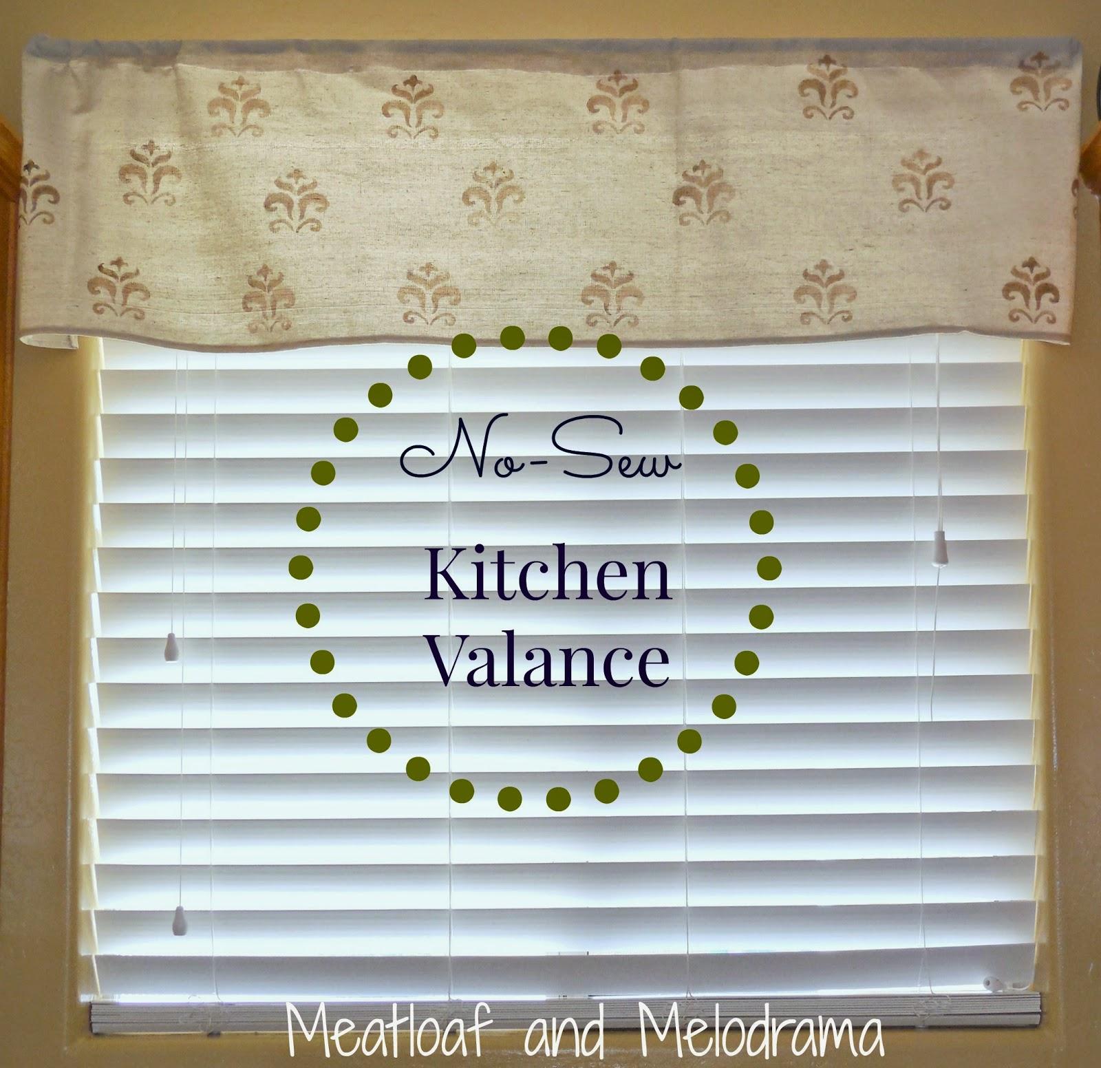 Meatloaf And Melodrama: Easy No-Sew Kitchen Valances