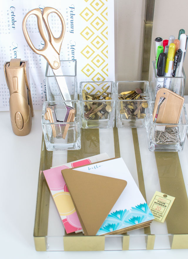 gold painted office accessories