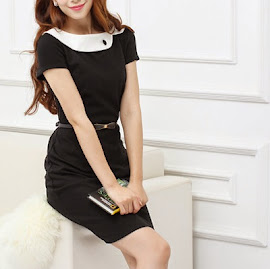 Short Sleeve White Asymmetric Peter Pan Collar Black Dress