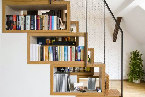 creative stair design with bookcase in stair wall