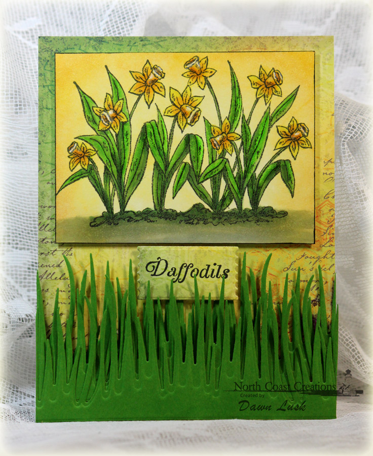 Stamps - North Coast CreationsDaffodils, ODBD Custom Grass Border Die, ODBD Blooming Garden Paper Collection, ODBD Custom Mini Tags Dies