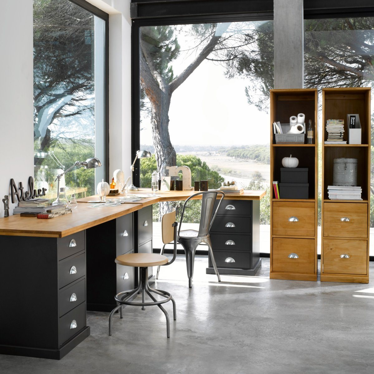 d co industrielle bureau style atelier ampm dekobook. Black Bedroom Furniture Sets. Home Design Ideas