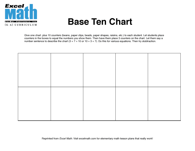 Excel Math: Base Ten Learning Tools