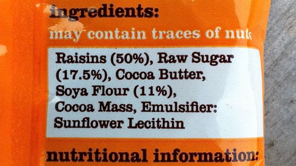 Fabulous FreeFrom Factory Chocovered Raisins ingredients