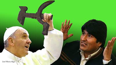 Evo Morales y el crucifijo regalado al Papa Francisco. La Hoz y el Martillo. 3