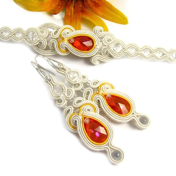 Komplet biżuterii ślubnej soutache ivory