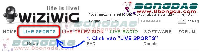 """(Hình 1) Vào wiziwig.tv, nhấp chuột vào """"LIVE SPORTS"""" để tìm link xem thể thao trực tuyến."""