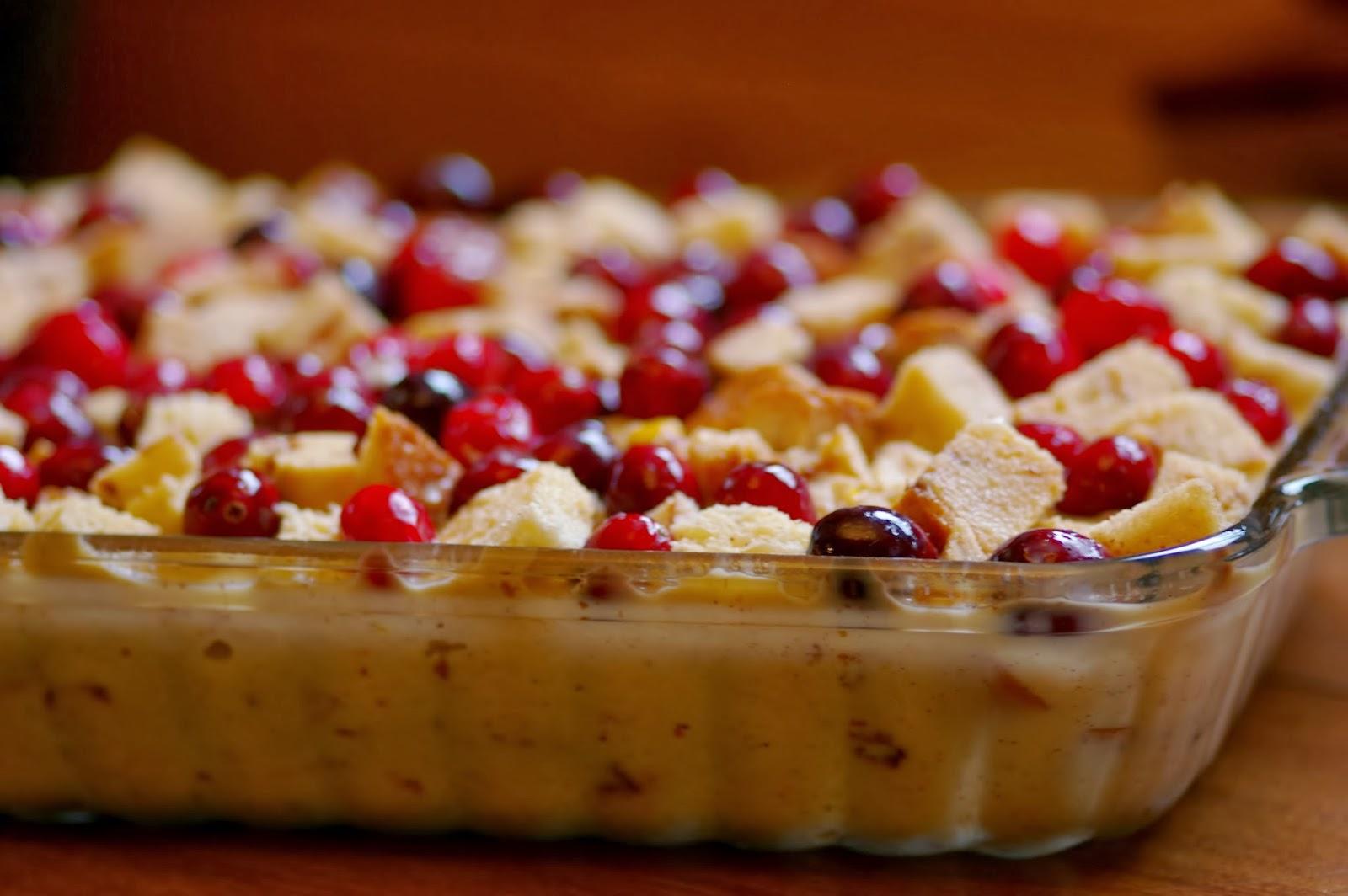 Vita: Cranberry Bread Pudding with Vanilla Custard Sauce