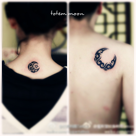 matching crescent moon tattoo for lovers