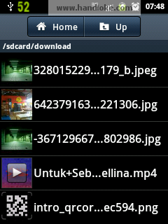 Letak video hasil download pada menu My Files (/ sdcard/download )