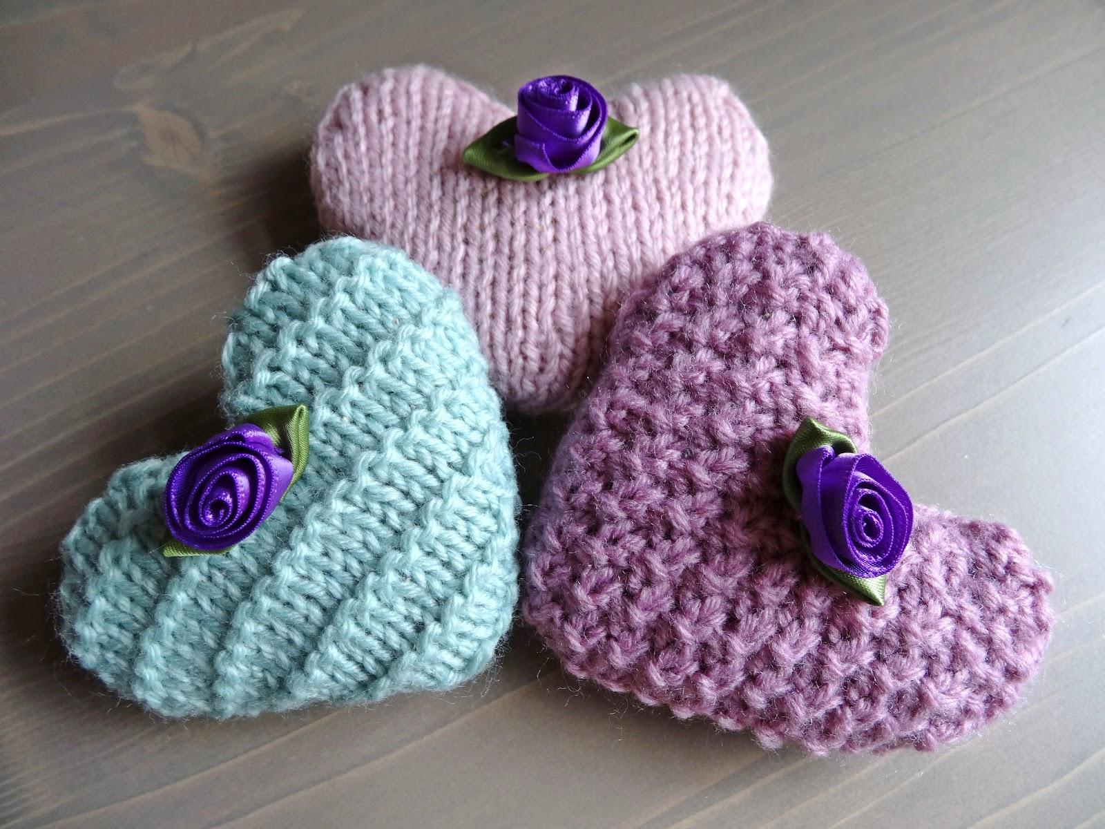 Knitting Stitch M1f : The Snail Garden: Lavender Hearts