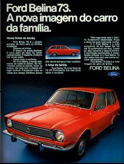 propaganda Ford Belina ano 73 publicado em 1972;  1972; brazilian advertising cars in the 70s; os anos 70; história da década de 70; Brazil in the 70s; propaganda carros anos 70; Oswaldo Hernandez;