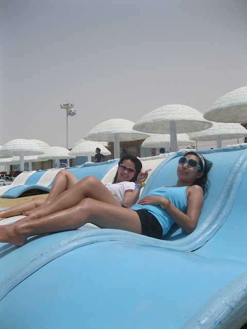 Chillin at the sun lounges, Ice Land Water Park Ras Al Khaimah