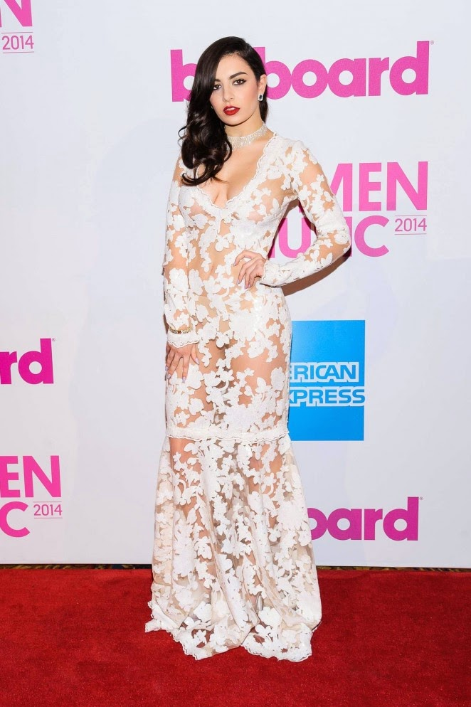 Charlie XCX goes braless in sheer lace gown at the 2014 Billboard Women in Music Luncheon in NYC