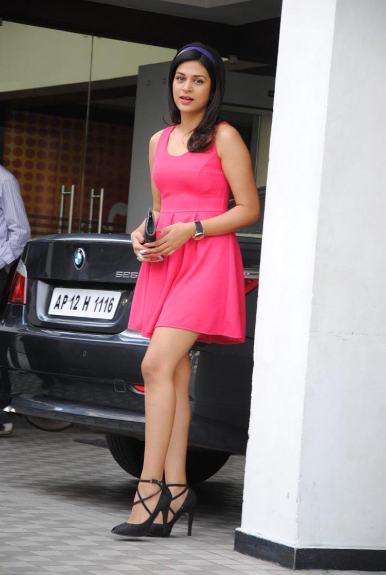 Shraddha Das in pink mini dress - Shraddha Das in Pink Mini Dress at Amori store launch