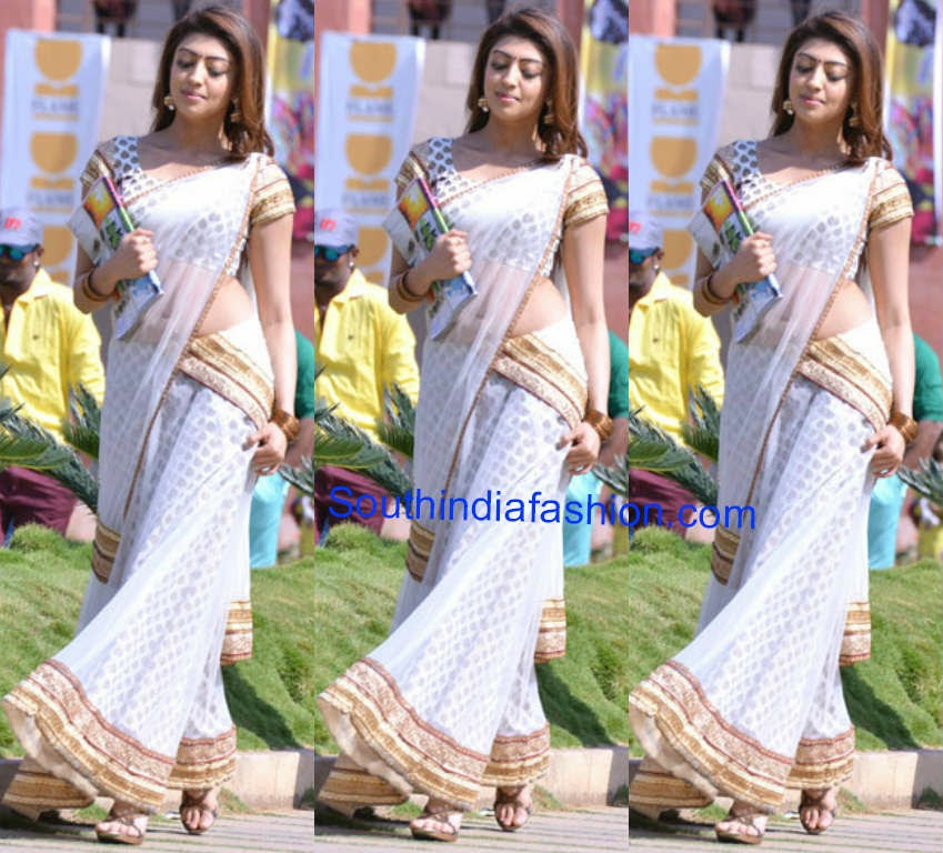 pranitha white half saree