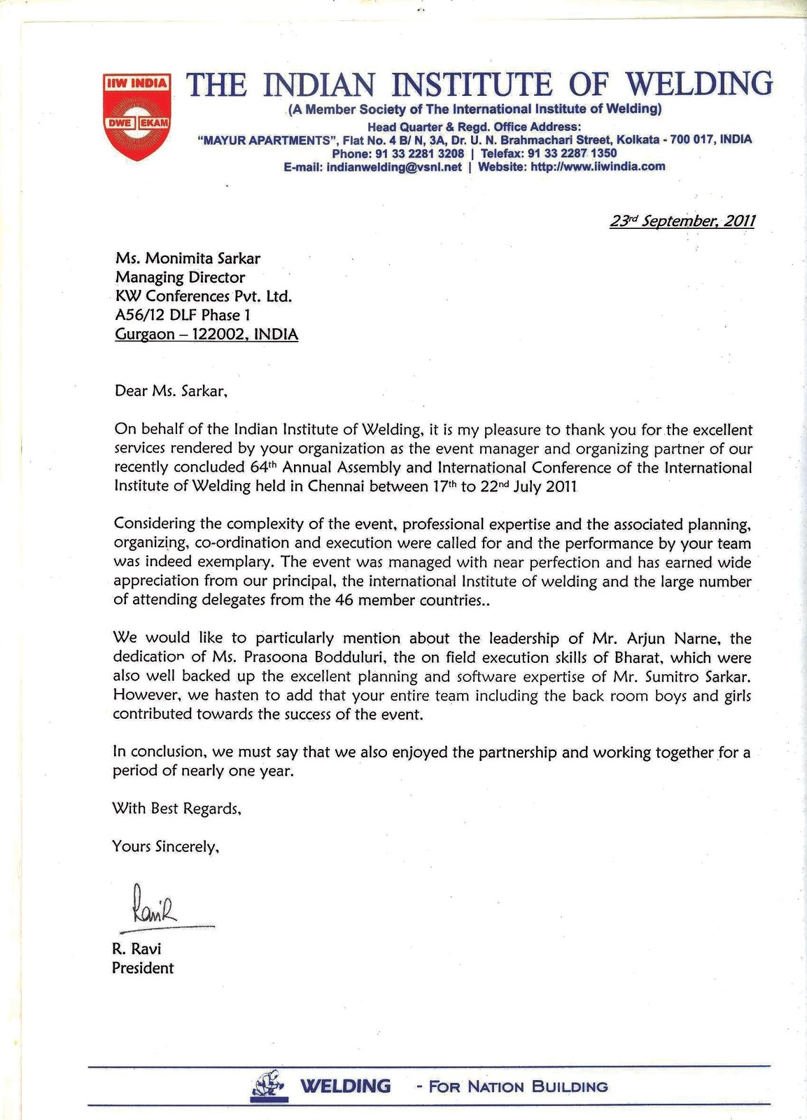kw conferences letter of appreciation given by r ravi president letter of appreciation given by r ravi president of the n institute of welding for the 64th annual assembly and international congress of iiw