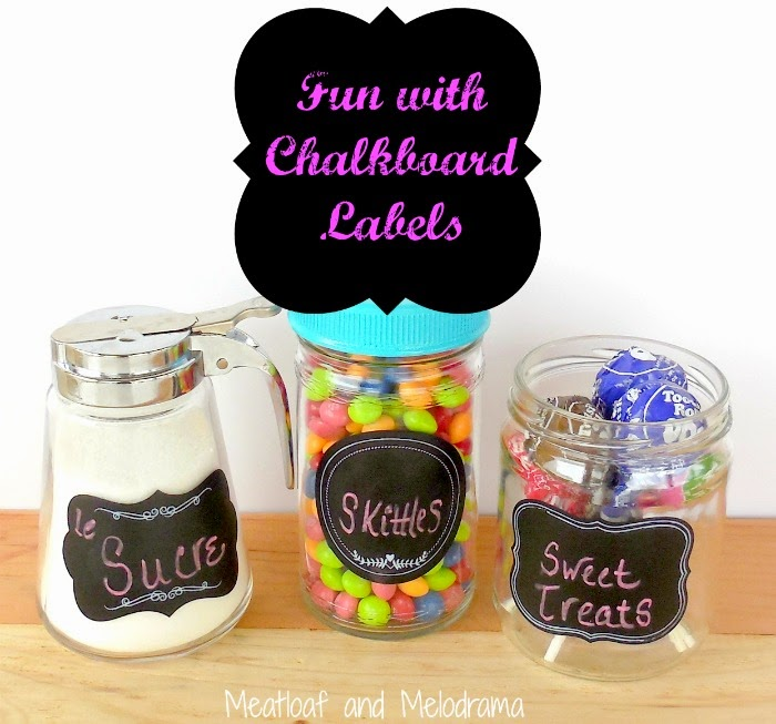 glass containers with sugar and candy made from old jars and chalkboard labels