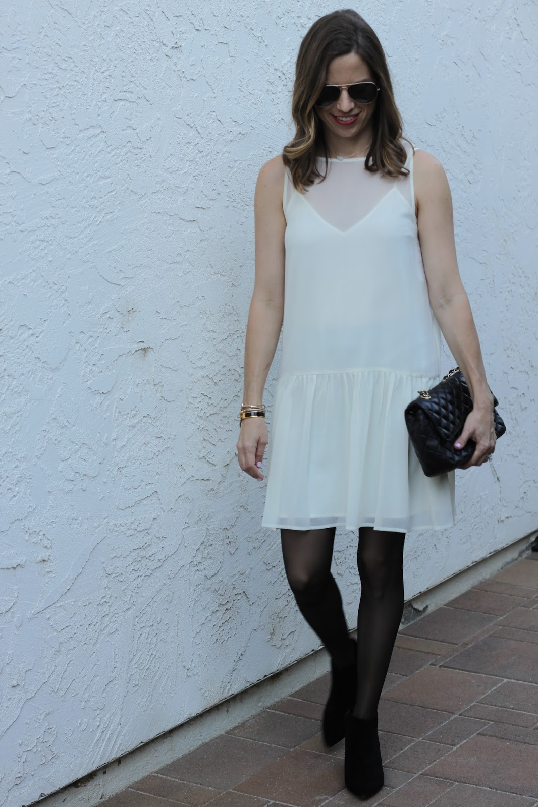 white dropped waist dress