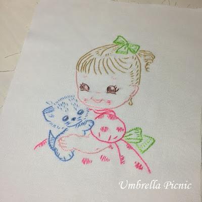 刺繍_女の子と子猫_写真